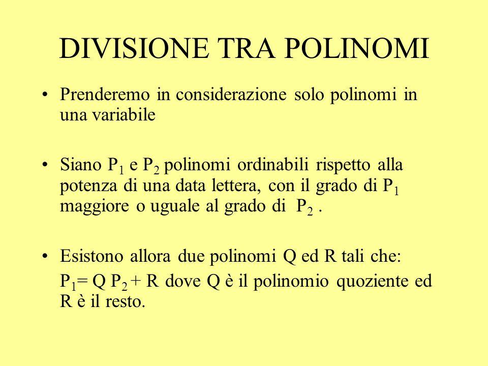 DIVISIONE TRA POLINOMI