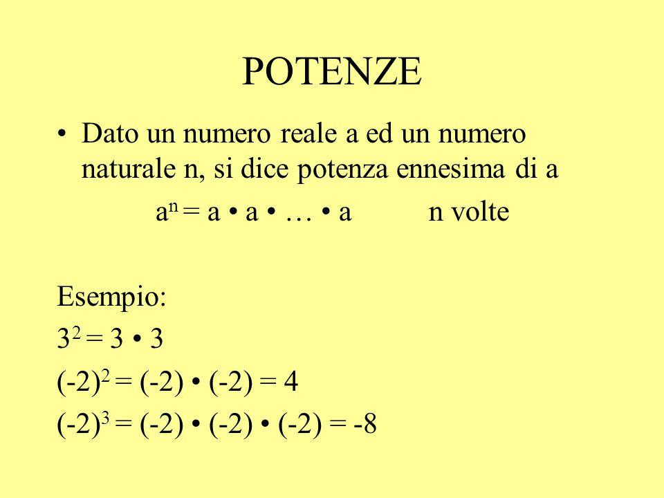 POTENZE Dato un numero reale a ed un numero naturale n, si dice potenza ennesima di a. an = a • a • … • a n volte.