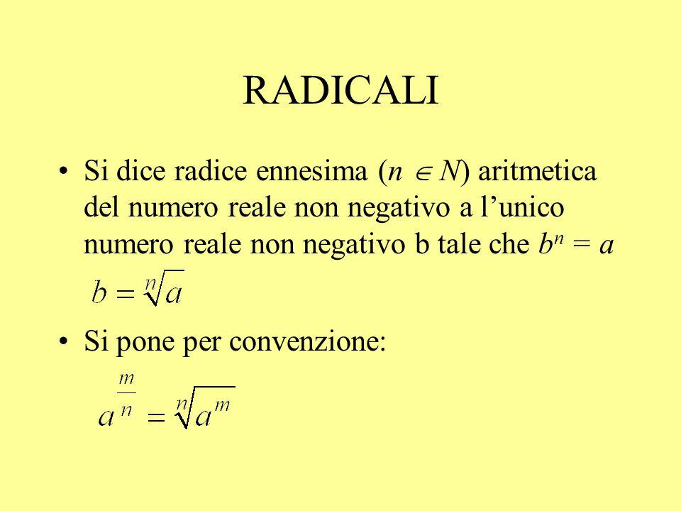 RADICALI Si dice radice ennesima (n  N) aritmetica del numero reale non negativo a l'unico numero reale non negativo b tale che bn = a.