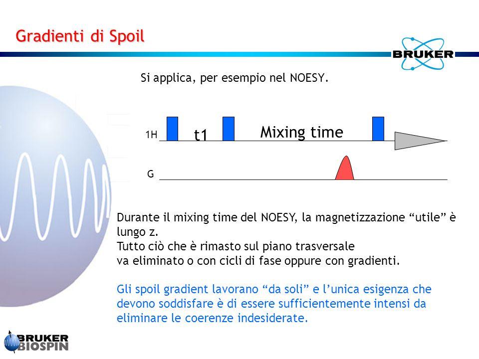 Gradienti di Spoil Mixing time t1 Si applica, per esempio nel NOESY.