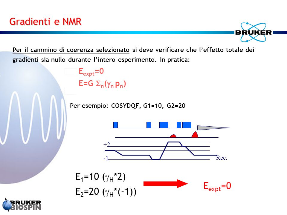Gradienti e NMR E1=10 (H*2) E2=20 (H*(-1)) Eexpt=0 Eexpt=0