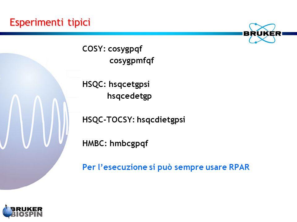 Esperimenti tipici COSY: cosygpqf cosygpmfqf HSQC: hsqcetgpsi