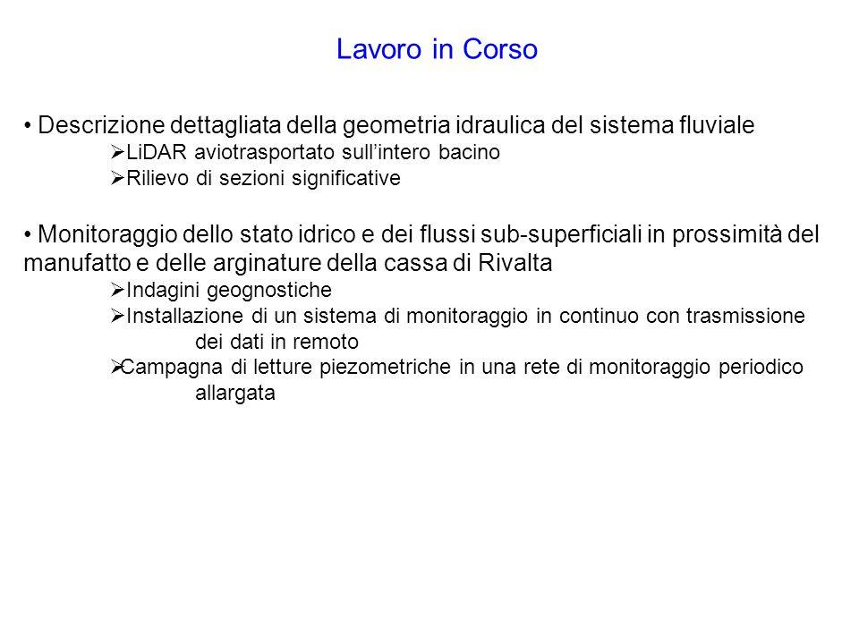 Lavoro in Corso Descrizione dettagliata della geometria idraulica del sistema fluviale. LiDAR aviotrasportato sull'intero bacino.
