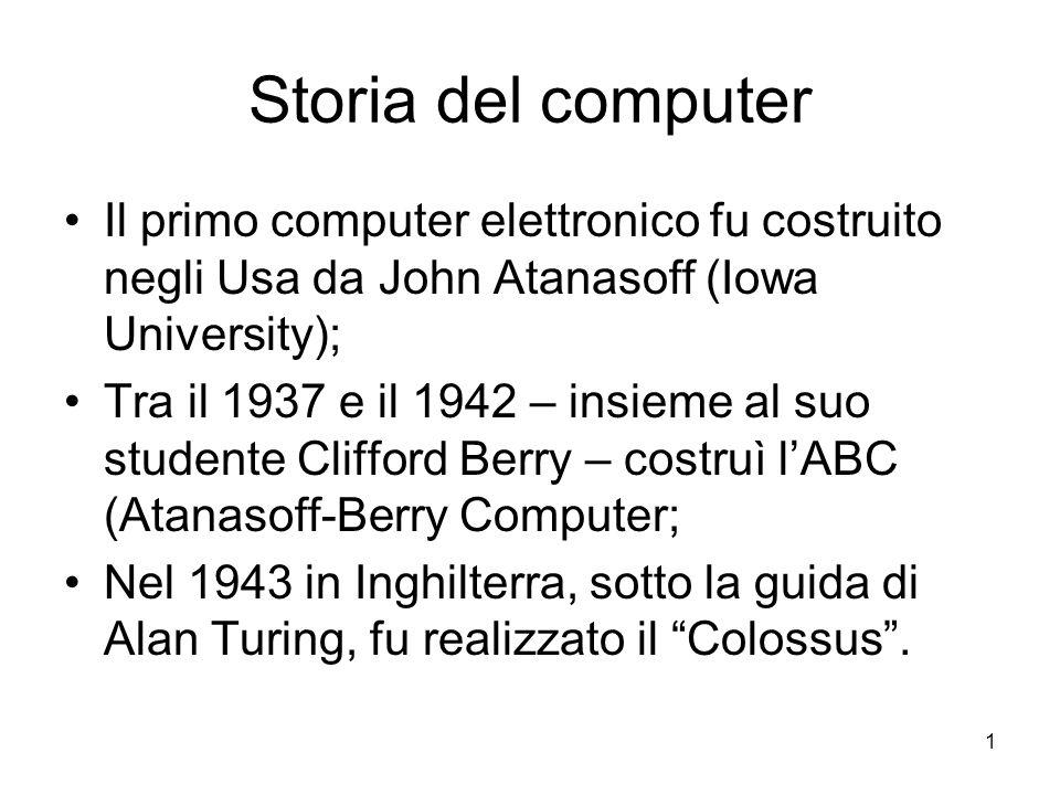 Storia del computer Il primo computer elettronico fu costruito negli Usa da John Atanasoff (Iowa University);