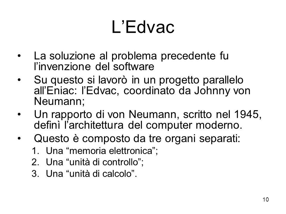 L'Edvac La soluzione al problema precedente fu l'invenzione del software.