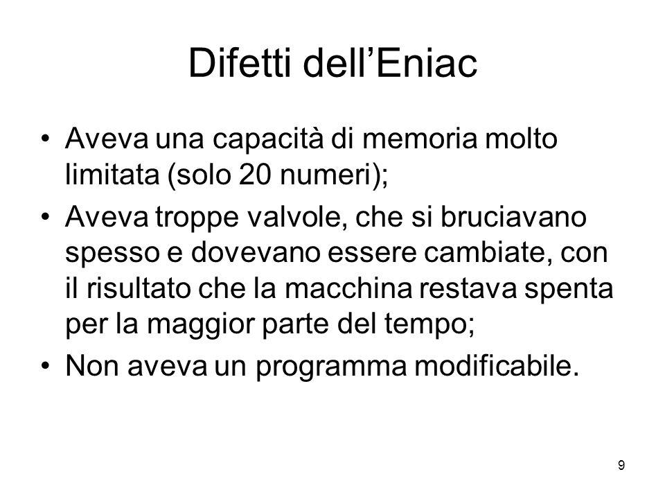 Difetti dell'Eniac Aveva una capacità di memoria molto limitata (solo 20 numeri);