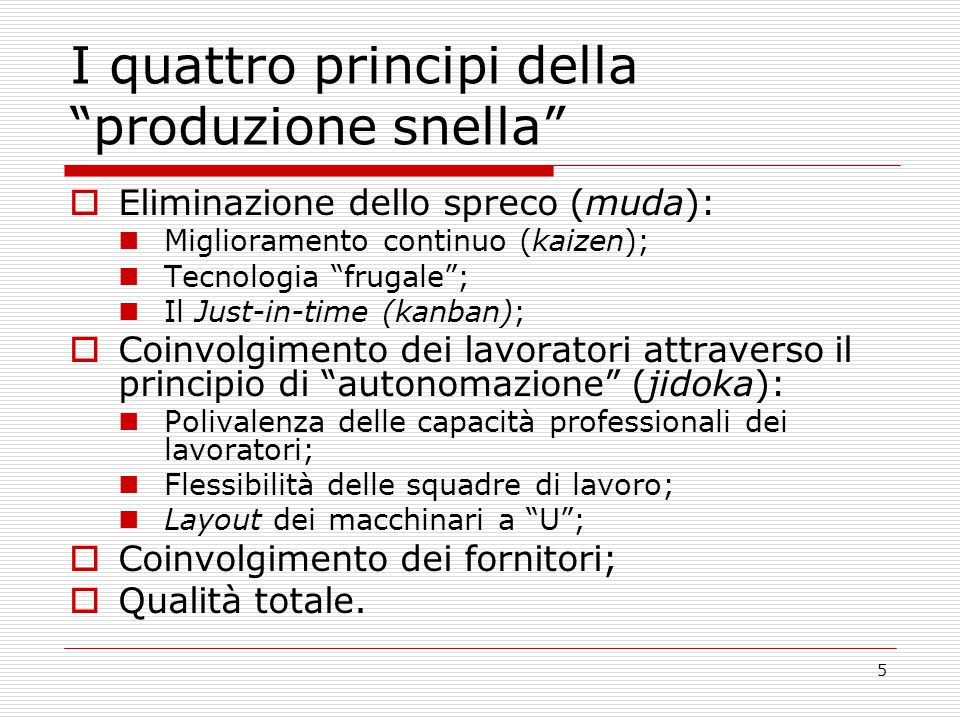 I quattro principi della produzione snella