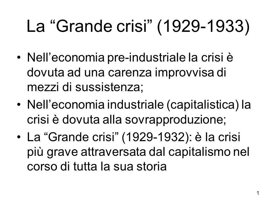 La Grande crisi (1929-1933) Nell'economia pre-industriale la crisi è dovuta ad una carenza improvvisa di mezzi di sussistenza;
