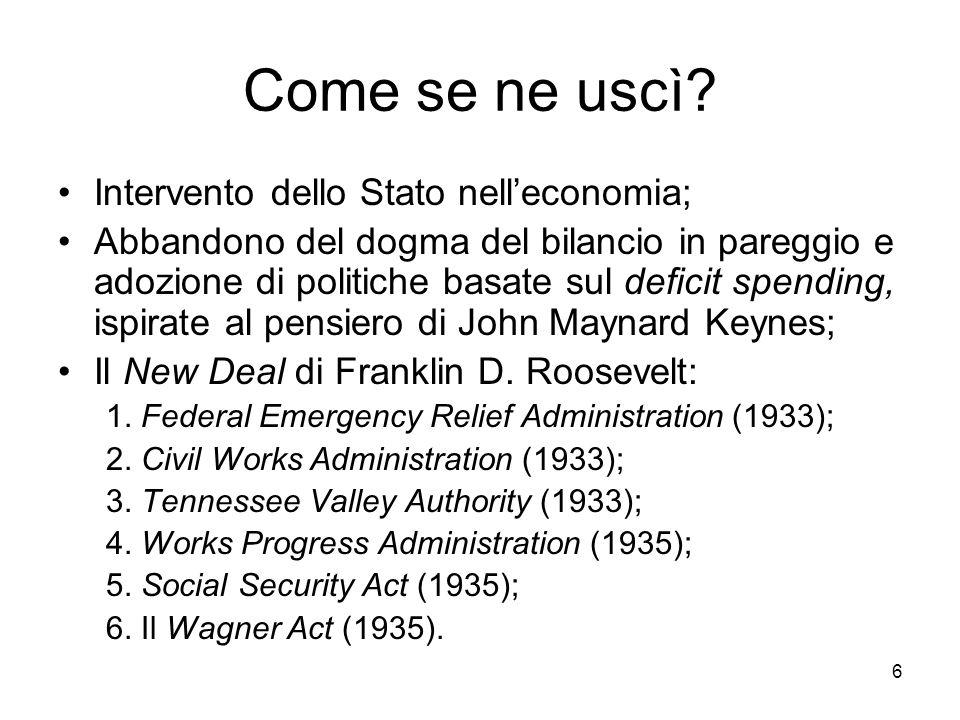 Come se ne uscì Intervento dello Stato nell'economia;