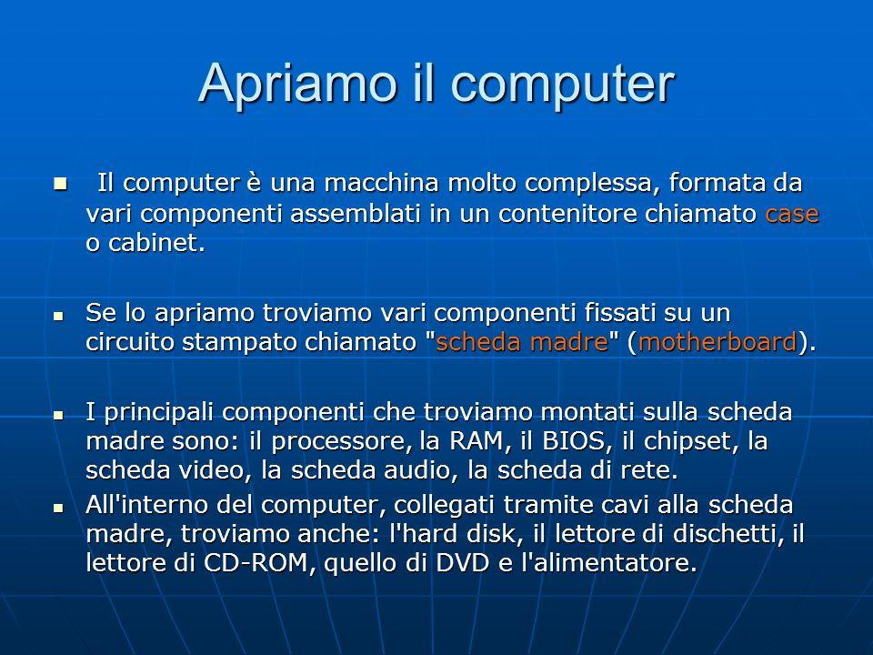 Apriamo il computer Il computer è una macchina molto complessa, formata da vari componenti assemblati in un contenitore chiamato case o cabinet.