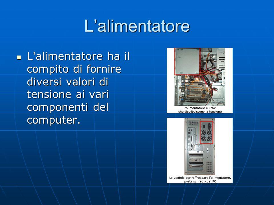 L'alimentatore L alimentatore ha il compito di fornire diversi valori di tensione ai vari componenti del computer.