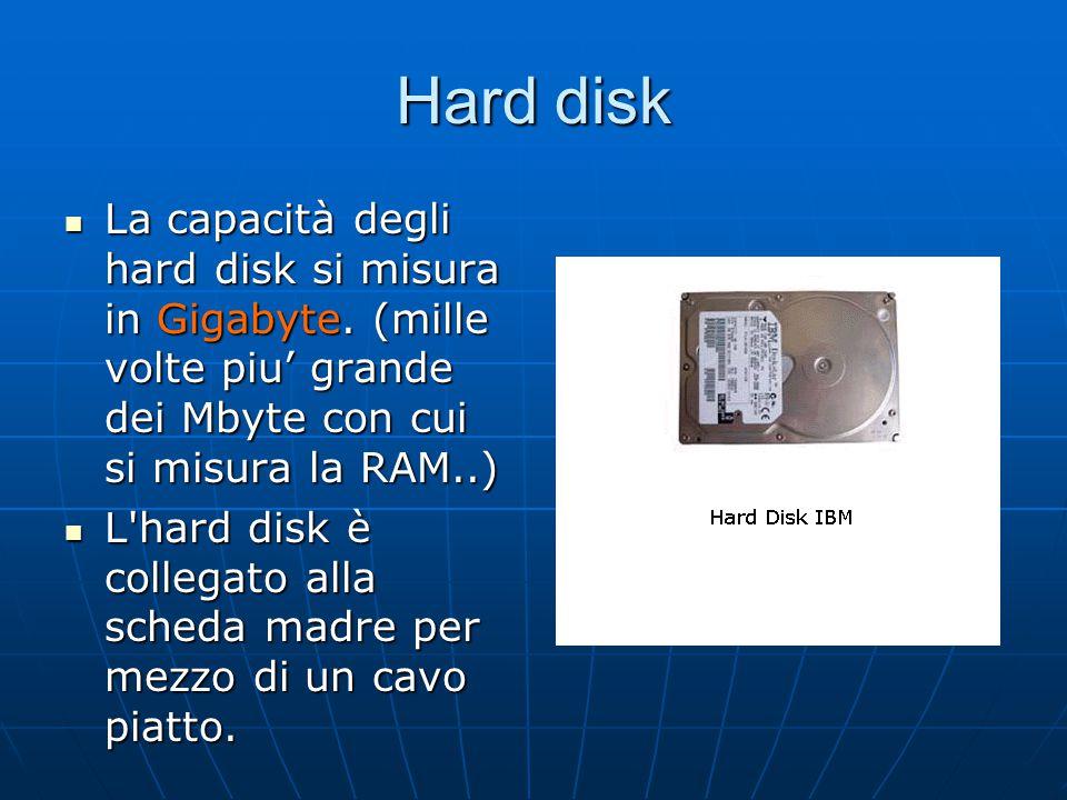 Hard disk La capacità degli hard disk si misura in Gigabyte. (mille volte piu' grande dei Mbyte con cui si misura la RAM..)