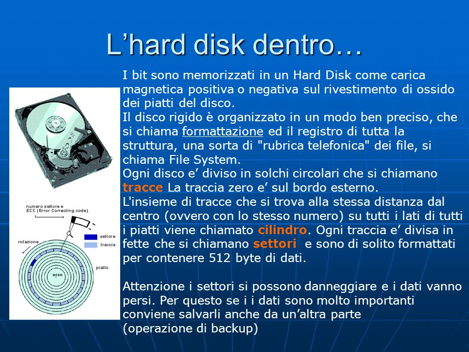L'hard disk dentro…