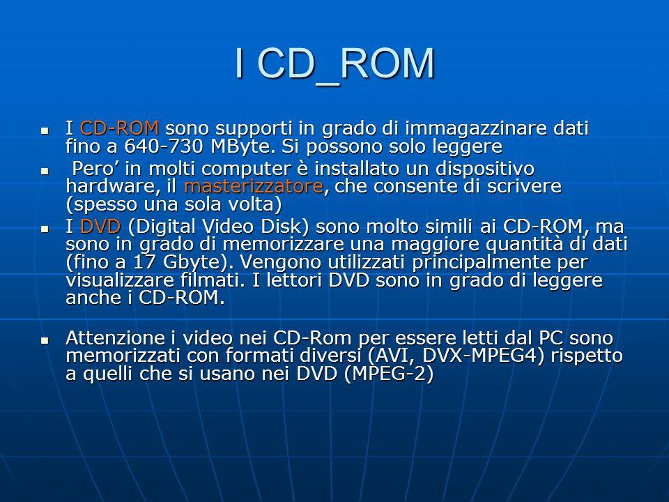 I CD_ROM I CD-ROM sono supporti in grado di immagazzinare dati fino a 640-730 MByte. Si possono solo leggere.