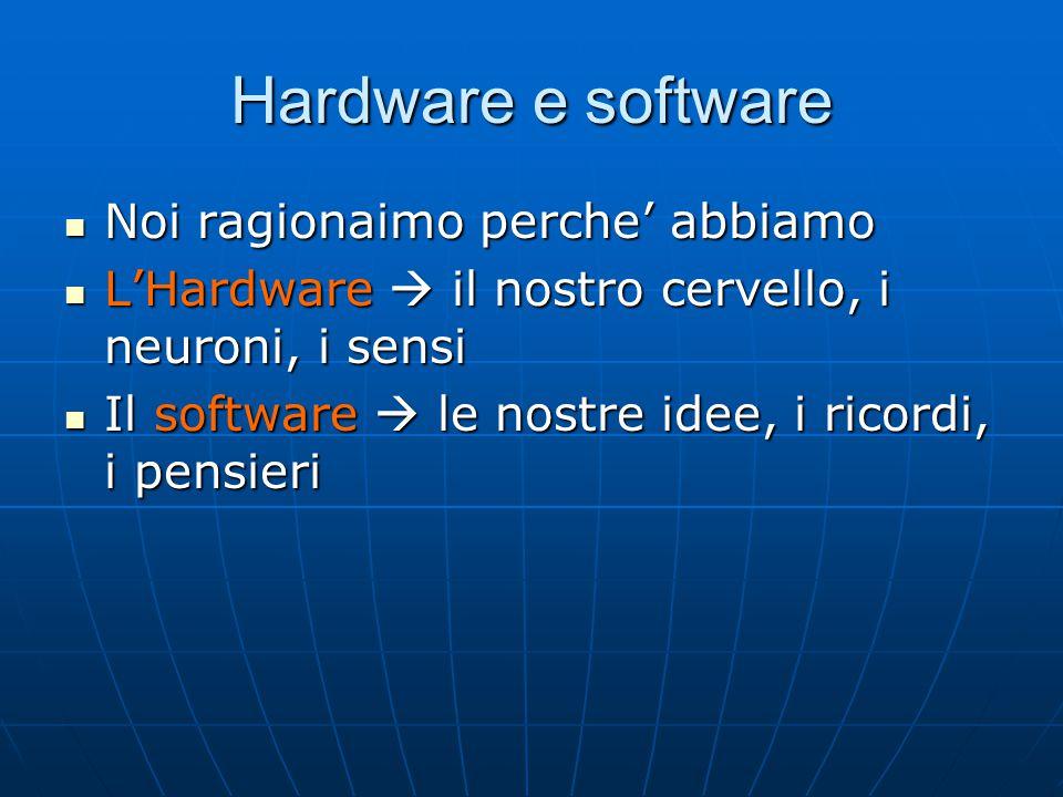 Hardware e software Noi ragionaimo perche' abbiamo