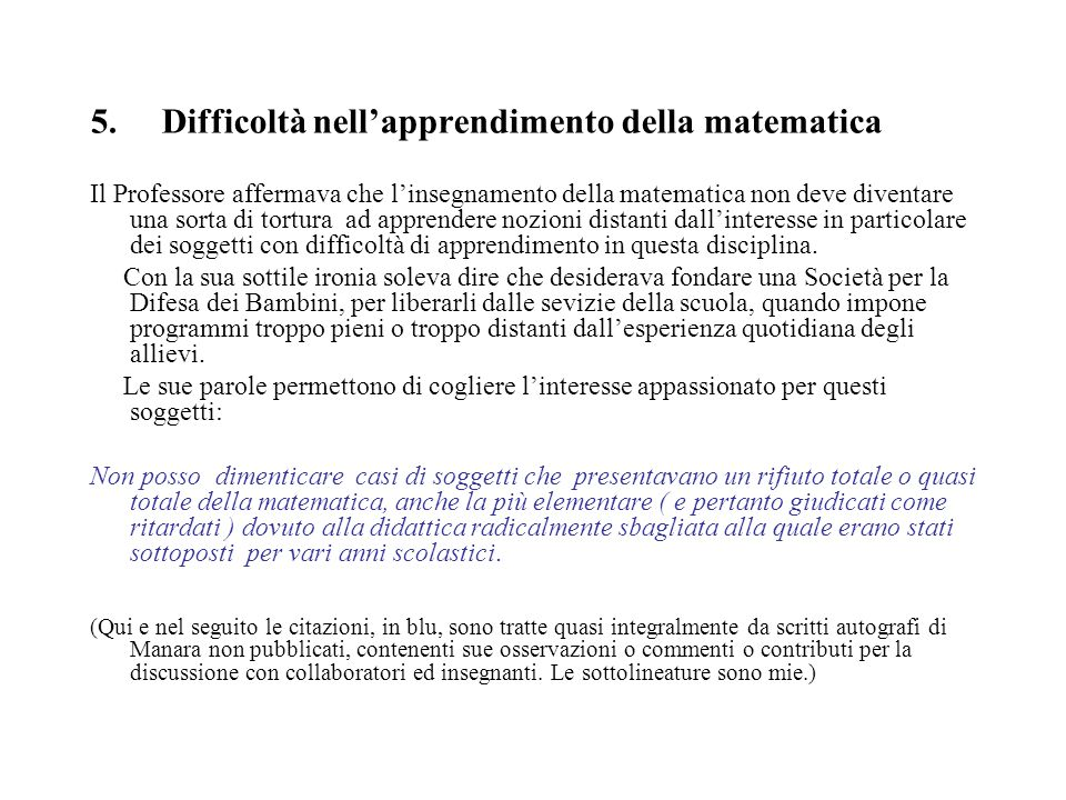 5. Difficoltà nell'apprendimento della matematica