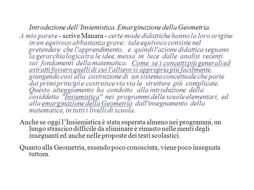 Introduzione dell'Insiemistica. Emarginazione della Geometria.