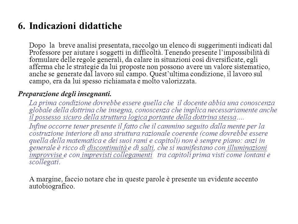 6. Indicazioni didattiche