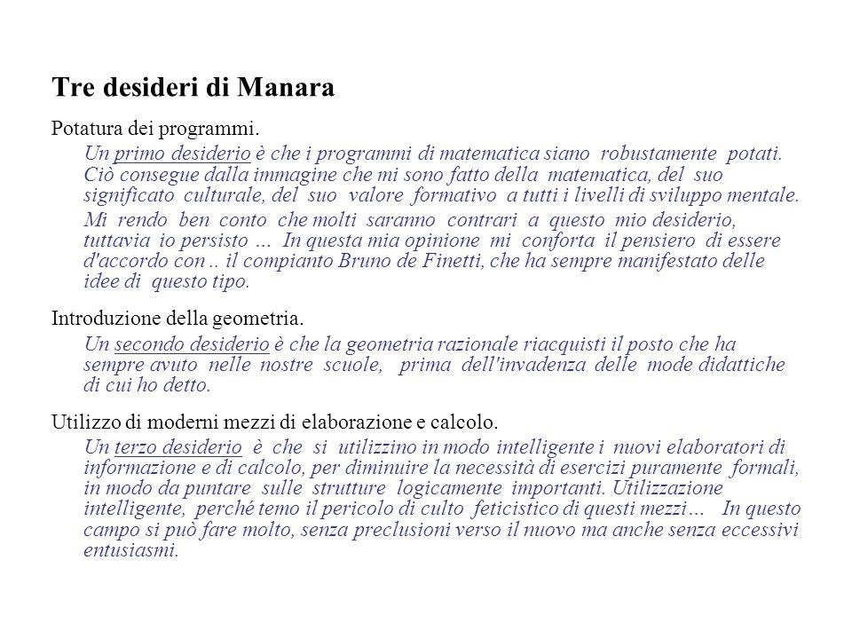 Tre desideri di Manara Potatura dei programmi.