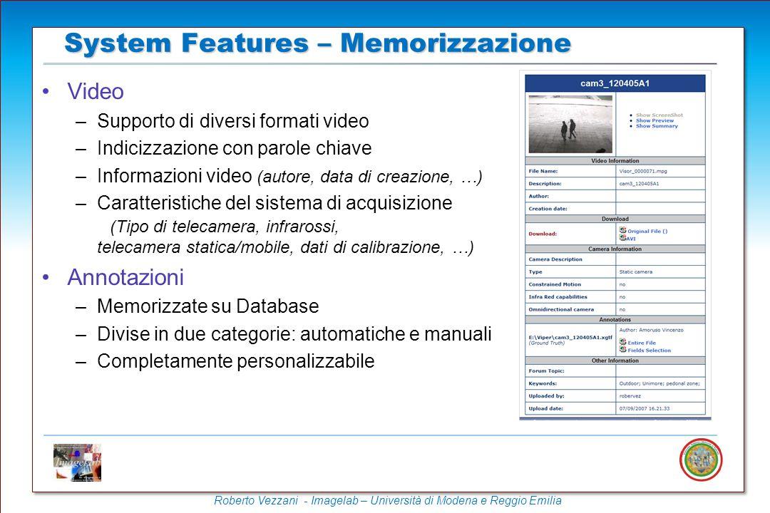 System Features – Memorizzazione