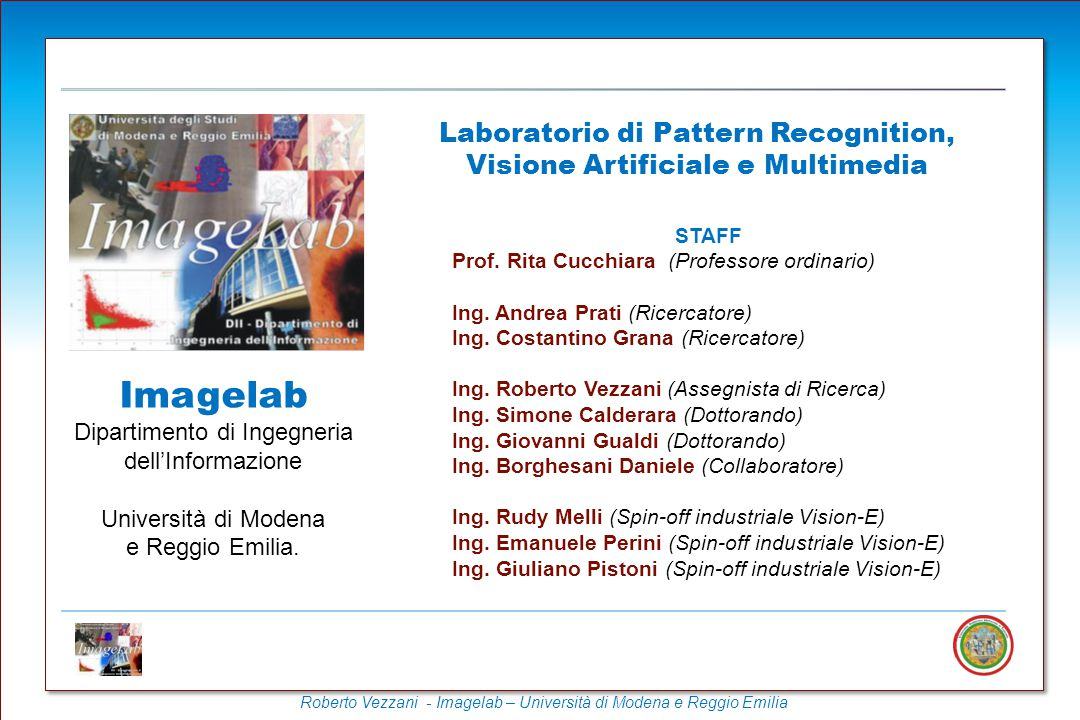 Laboratorio di Pattern Recognition, Visione Artificiale e Multimedia