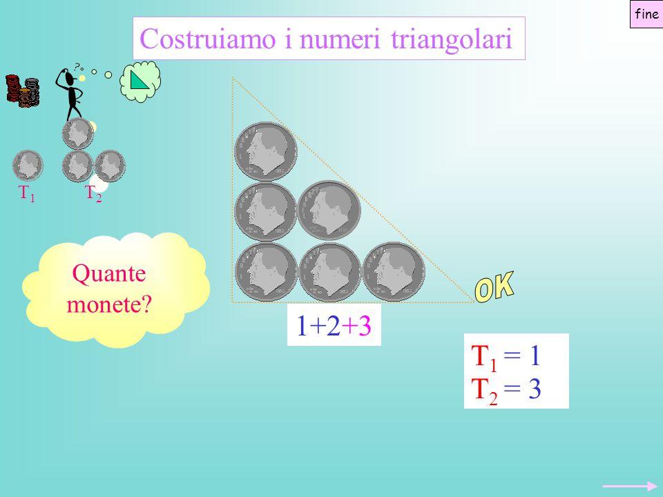 OK Costruiamo i numeri triangolari 1+2+3 T2 = 3 T1 = 1 Quante monete