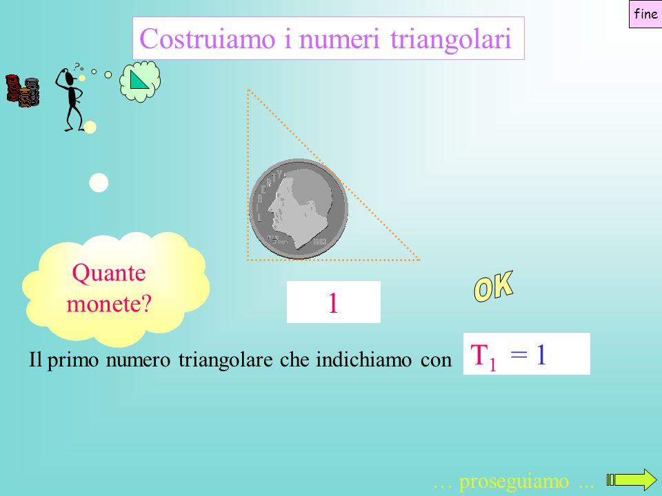 OK Costruiamo i numeri triangolari 1 T1 = 1 Quante monete