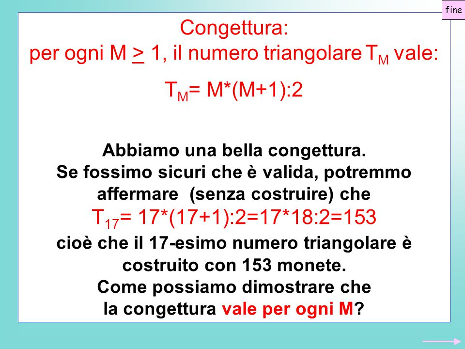 per ogni M > 1, il numero triangolare TM vale: TM= M*(M+1):2