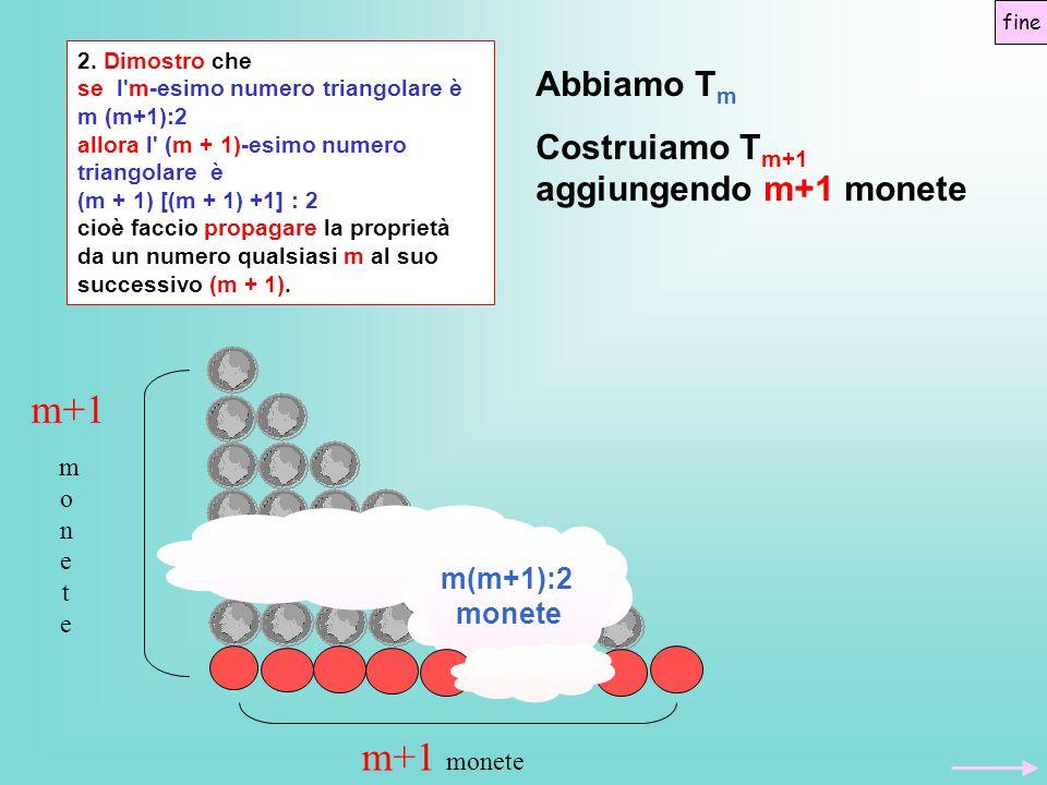 m+1 m+1 monete Abbiamo Tm Costruiamo Tm+1 aggiungendo m+1 monete