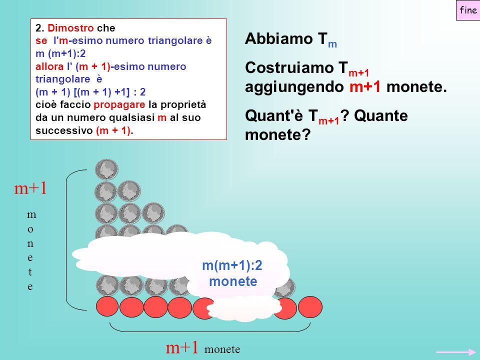 m+1 m+1 monete Abbiamo Tm Costruiamo Tm+1 aggiungendo m+1 monete.