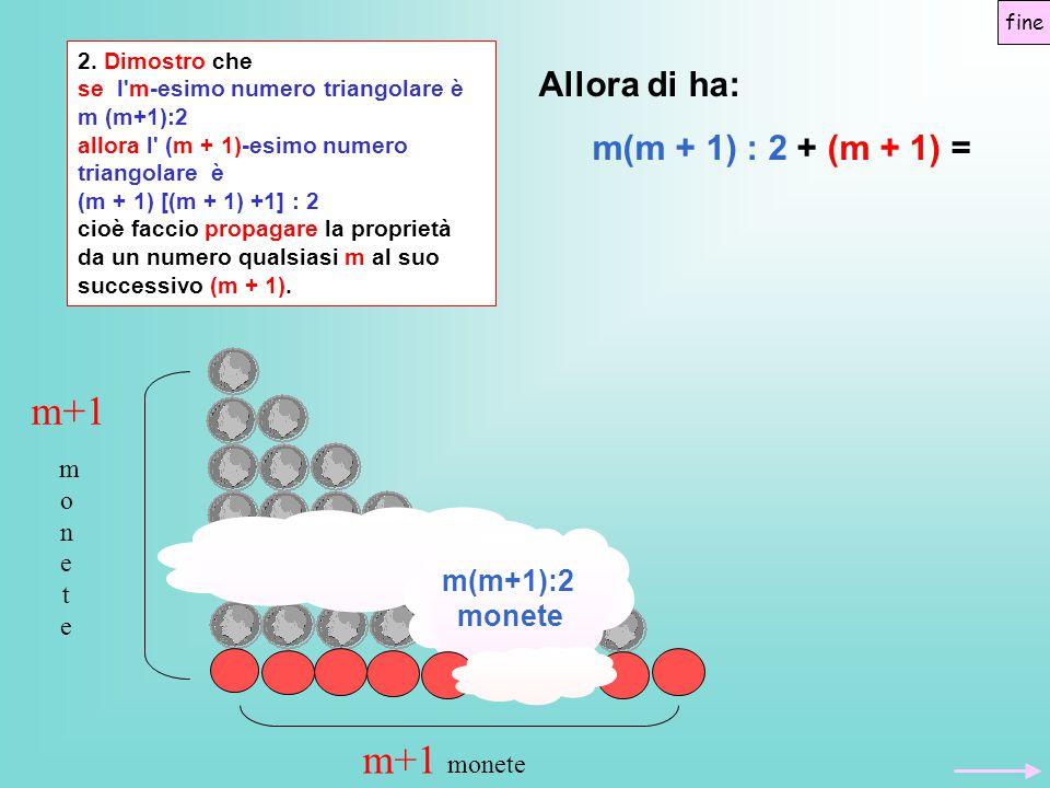m+1 m+1 monete Allora di ha: m(m + 1) : 2 + (m + 1) = m(m+1):2 monete