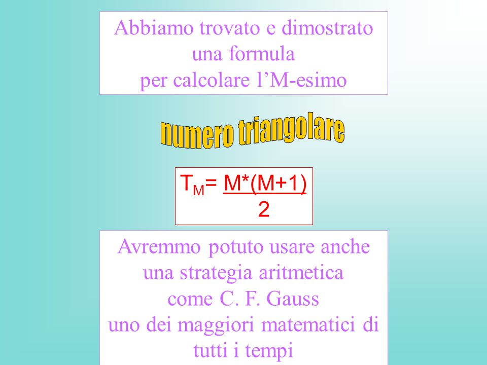 numero triangolare Abbiamo trovato e dimostrato una formula