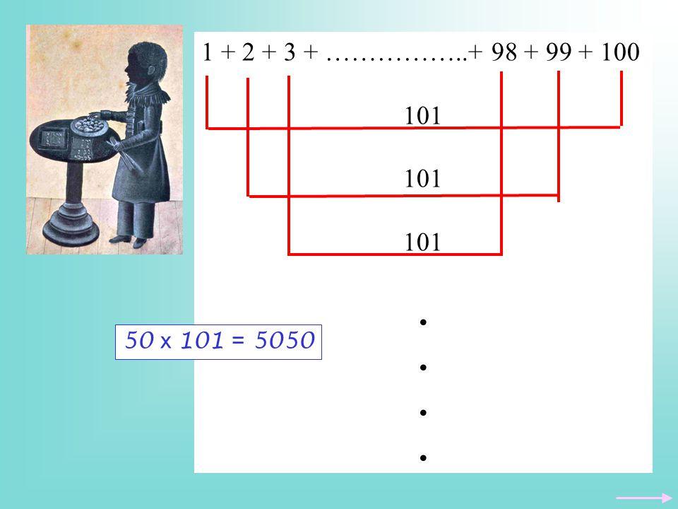 1 + 2 + 3 + ……………..+ 98 + 99 + 100 101. .