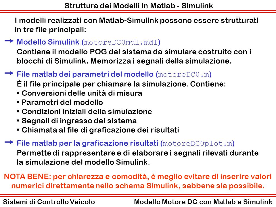 Struttura dei Modelli in Matlab - Simulink