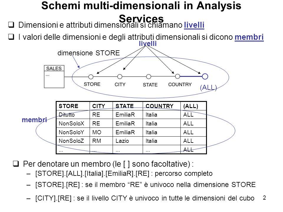 Schemi multi-dimensionali in Analysis Services