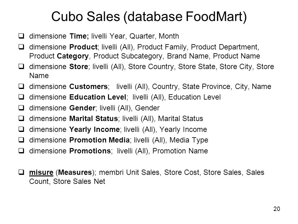 Cubo Sales (database FoodMart)