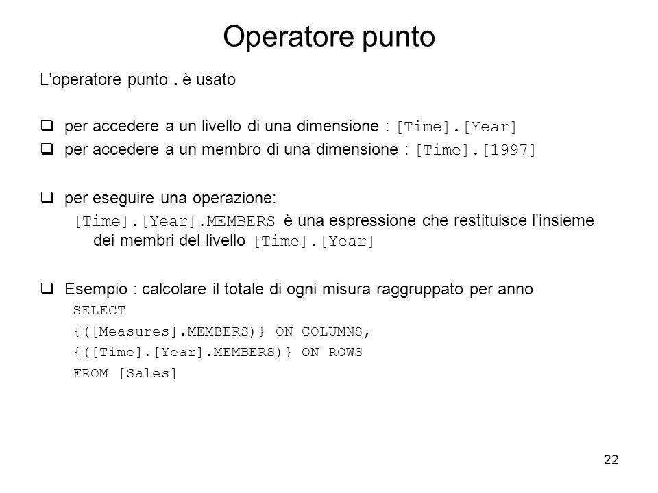 Operatore punto L'operatore punto . è usato
