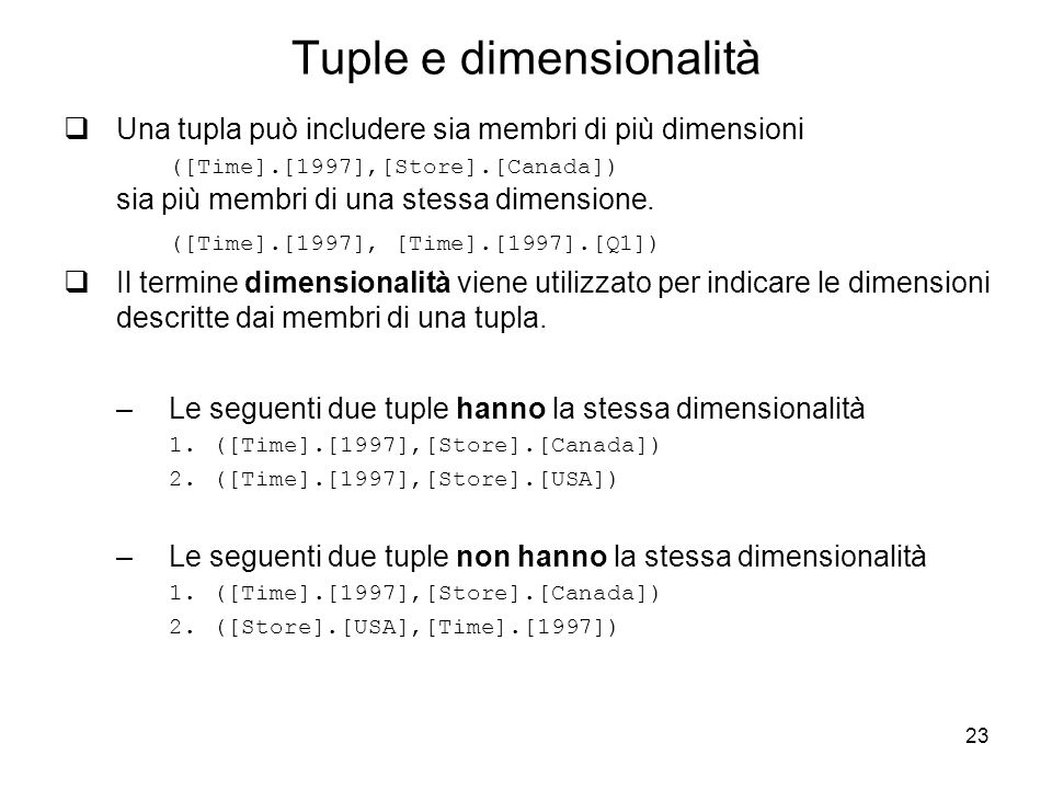 Tuple e dimensionalità