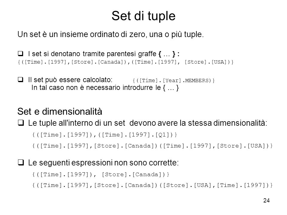 Set di tuple Set e dimensionalità