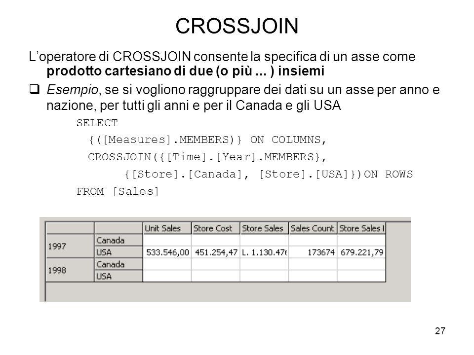 CROSSJOIN L'operatore di CROSSJOIN consente la specifica di un asse come prodotto cartesiano di due (o più ... ) insiemi.