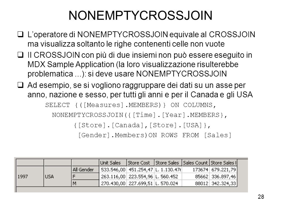 NONEMPTYCROSSJOIN L'operatore di NONEMPTYCROSSJOIN equivale al CROSSJOIN ma visualizza soltanto le righe contenenti celle non vuote.