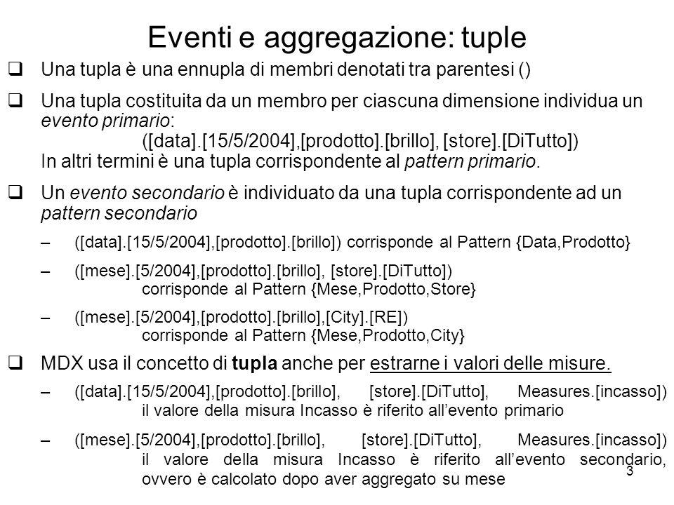 Eventi e aggregazione: tuple