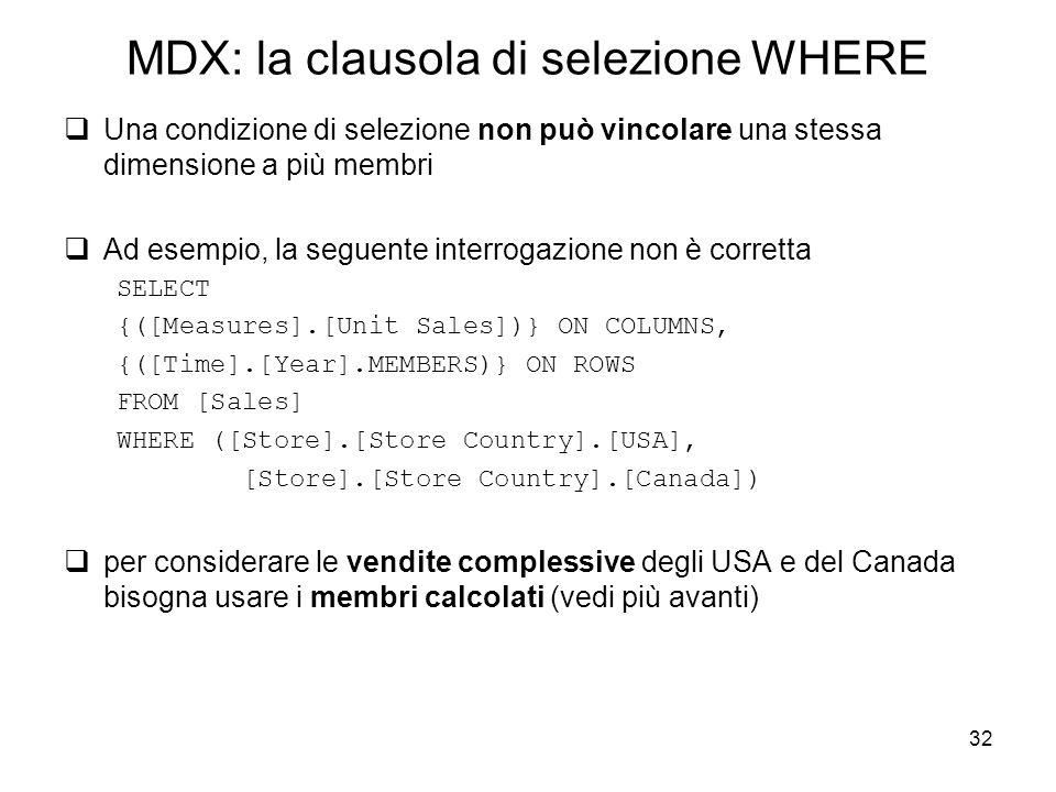 MDX: la clausola di selezione WHERE