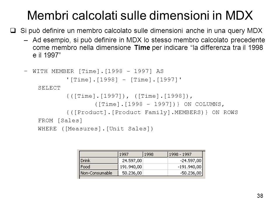 Membri calcolati sulle dimensioni in MDX