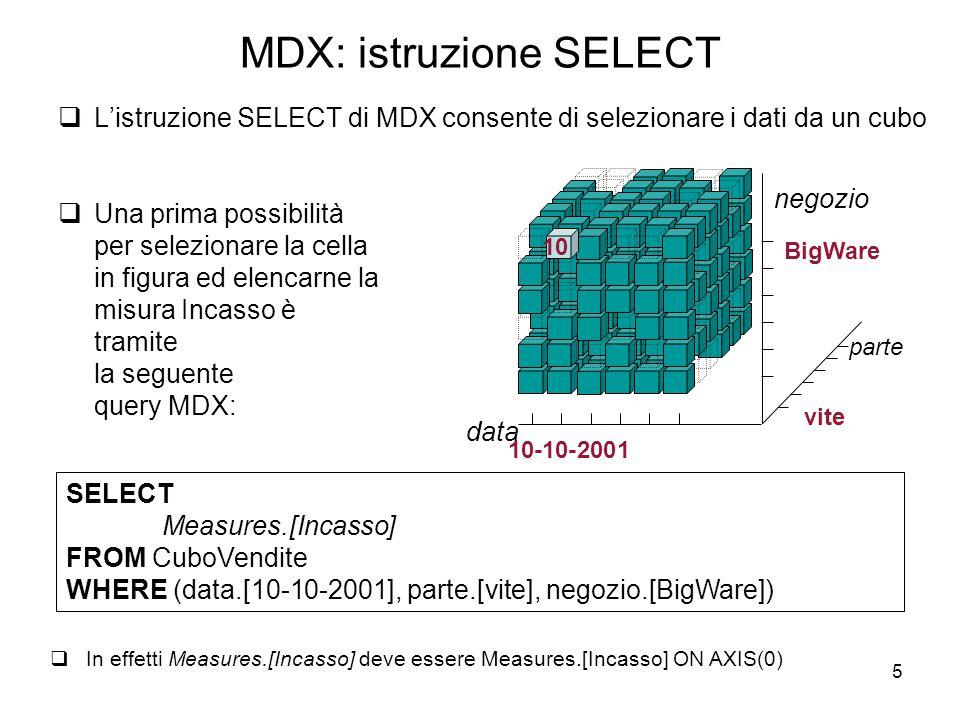 MDX: istruzione SELECT