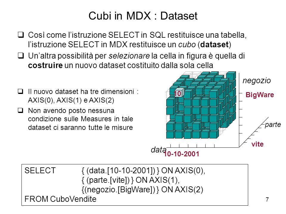 Cubi in MDX : Dataset Così come l'istruzione SELECT in SQL restituisce una tabella, l'istruzione SELECT in MDX restituisce un cubo (dataset)