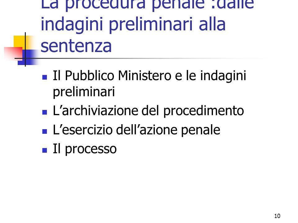 La procedura penale :dalle indagini preliminari alla sentenza