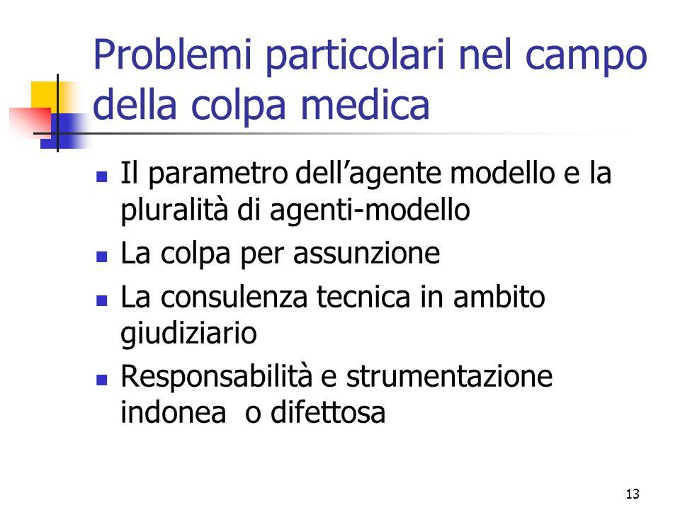 Problemi particolari nel campo della colpa medica