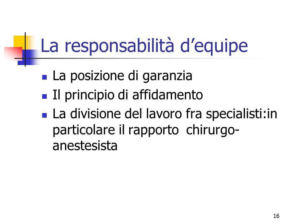 La responsabilità d'equipe
