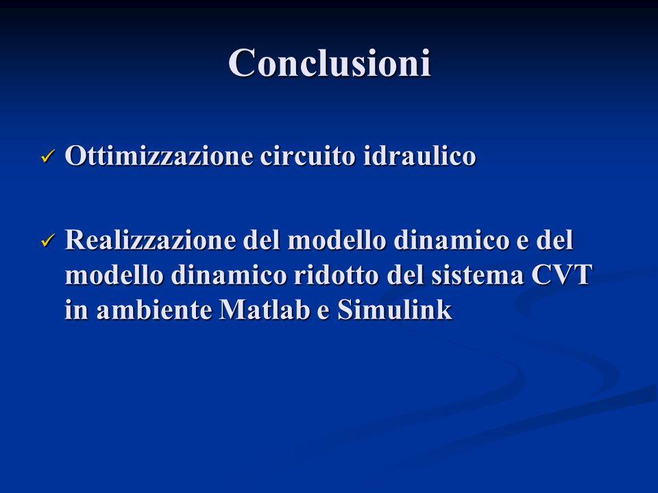 Conclusioni Ottimizzazione circuito idraulico